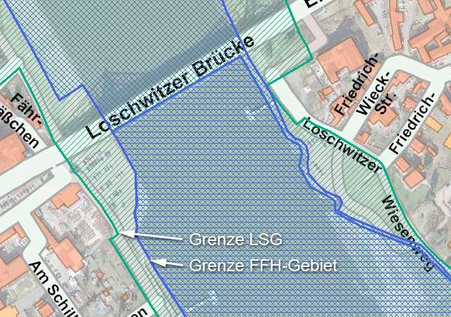 LSG- und FFH-Gebiet am Blauen Wunder (Klick vergrößert)