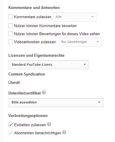 """Screenshot Youtube """"Erweiterte Einstellungen"""""""