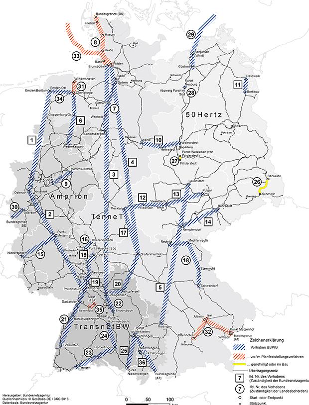 Leitungsvorhaben aus dem  Bundesbedarfsplangesetz (BBPlG), Bundesnetzagentur, (Klick führt zur Quelle)