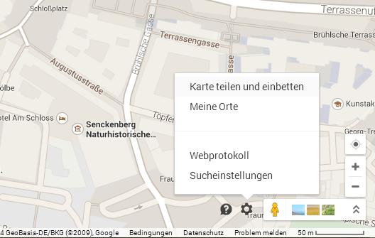 Google Maps, Einbetten, Schritt 1