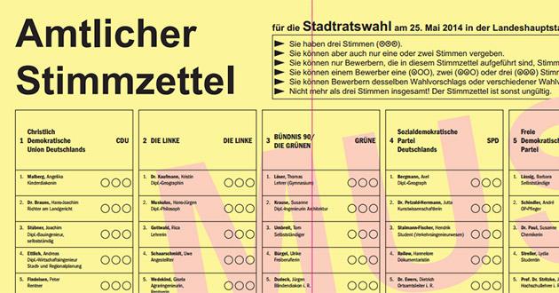 Stimmzettel Wahlkreis 1 Dresden 2014 (Ausschnitt)