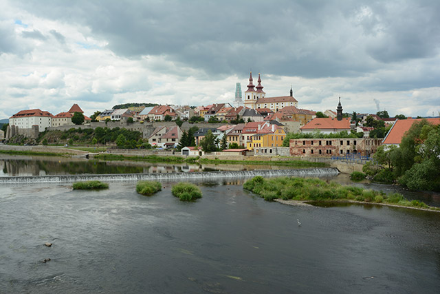 Stadtansicht Kadaň am Fluss Eger, Tschechien