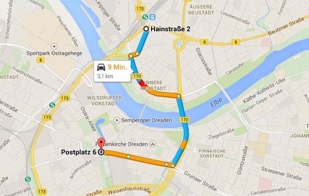 Routenführung, Beispiel; Quelle Google-Maps