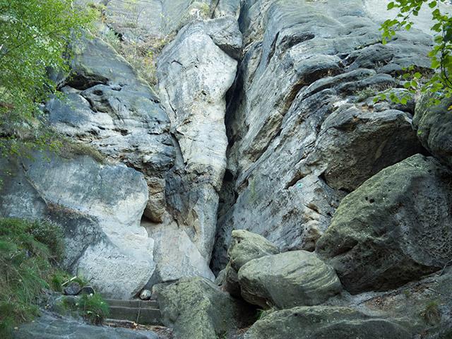 Sächsische Schweiz, Häntzschelstiege, Einstieg oberer Abschnitt