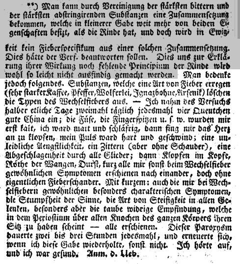"""Fußnote Samuel Hahnemanns in William Cullen: """"Abhandlung über die Materia medica, Band 2"""""""
