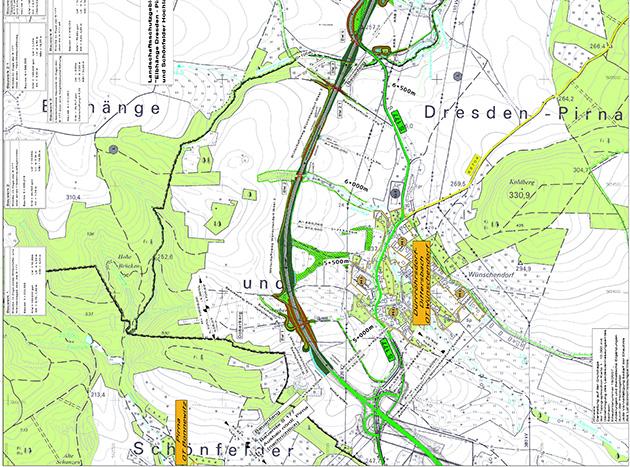 Karte Planfeststellungsverfahren S 117 Doberberg Wünschendorf