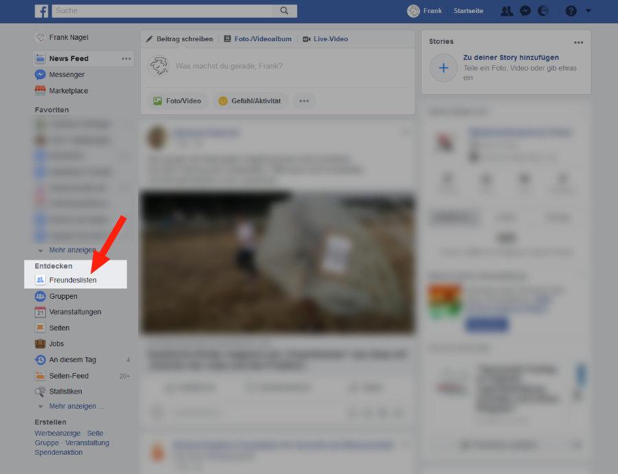 Facebook Freundesliste anlegen 1